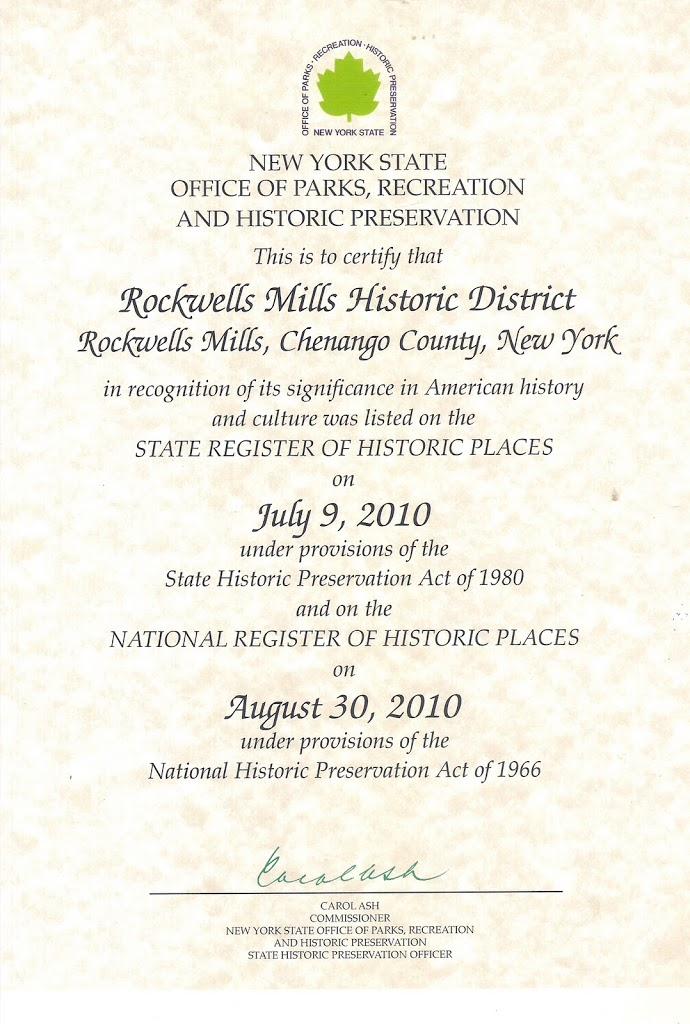 Rockwell Mills Cerificate